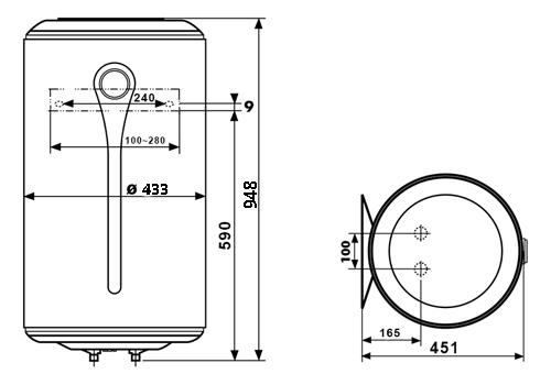 ВОДОНАГРІВАЧ Atlantic CWH 100 D400-2-B - інструкція по монтажу