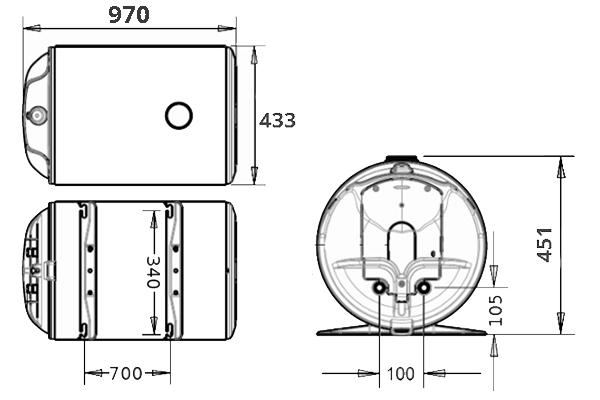 БОЙЛЕР Thermor O`Pro Horizontal HM 100 D400-1-M - инструкция по монтажу